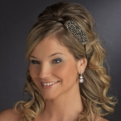 * Rhodium Gold Brown Beaded Trim Headband Headpiece 4019