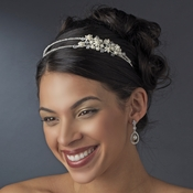 Silver and Pearl  Side Accented Headband HP 3040