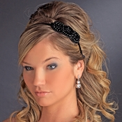 * Rhodium Silver on Black with Black Beaded Trim Headband Headpiece 4019