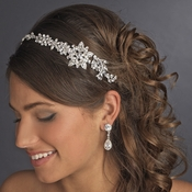 Vintage Bridal Headpiece with Side Accent  HP 17966 Antique Silver