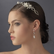 Antique Silver Ivory Bridal Headband with Flower Accents HP 8345