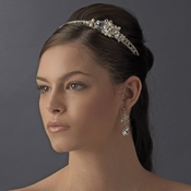 Elegant Silver Rhinestone & Natural Pearl Side Accented Bridal Headband - HP 8336