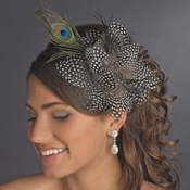 Black w/ White Spots and Peacock Feathers Headband Headpiece 4028