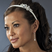 Silver Ivory Matte Satin Bridal Headband HP 8263