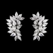 Antique Silver Clear CZ Earring 3983 (Clip or Pierced)