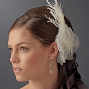 * Bridal Feather Hair Piece with Crystals Comb 1517 (White or Ivory)