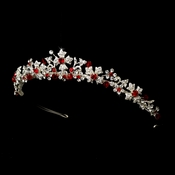 Silver Red Tiara Headpiece 8176