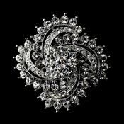 Antique Silver Rhinestone Brooch 116