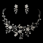 Silver Clear Necklace Earring Set 9785