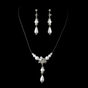 White Necklace Earring Set 7243