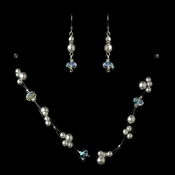 Silver White Necklace Earring Set 7239