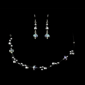 Silver Cloud AB Necklace Earring Set 7239