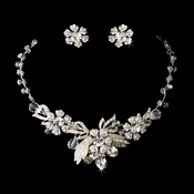 Silver Clear Necklace Earring Set 6508