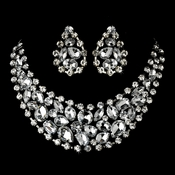 Rhodium Silver Clear Necklace Earring Set 6571