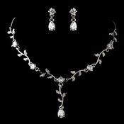 Lovely Silver Clear CZ Crystal Flower Necklace & Earrings Jewelry Set 51021