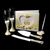 Glistening Beach Toasting Flutes, Cake Server, Guest Book & Pen Set (In Beige-As Shown or Lt Blue)