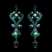 Antique Silver Dark & Teal Blue Chandelier Crystal Earrings 1031