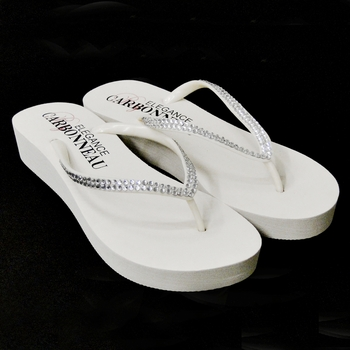 * Sunshine ~ Low Heel White Wedge Flip Flops with Crystal Straps