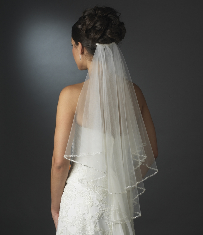 Wedding Hairstyle With Veil: Intricate Beaded Pearl Edge On Double Layer Elbow Length