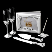 Charming Love Toasting Flutes, Cake Server, Guestbook & Pen Set