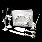 Classic Lily Toasting Flutes, Cake Server, Guestbook & Pen Set