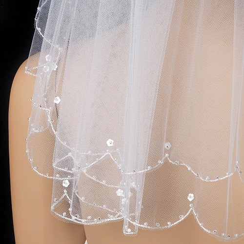 Child's & Bridal Double Layer Scalloped Pencil Edge Veil with Pearls 007