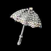 * Antique Silver Umbrella Encrusted in Clear and AB Rhinestones Pin Brooch 121