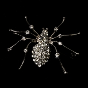 * Antique Silver Rhinestone Spider Brooch 131