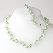 * Peridot Silver Clear Butterfly Necklace Bracelet Set 7614