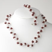 * Ruby Silver Clear Butterfly Necklace Bracelet Set 7614
