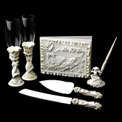 White 'Sweet 15' Girl Matching Guest Book Pen Flute & Cake Server Set 100