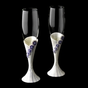 Delightful Lilac Daisy Toasting Champagne Flutes