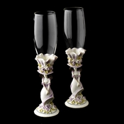 Purple 'Sweet 15' Girl Wedding Toasting Champagne Flutes