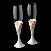 Delightful Pink Daisy Toasting Champagne Flutes