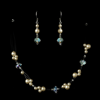 Silver Champagne Necklace Earring Set 7239