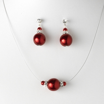 Pearl Necklace Earring Set NE 8369 Red