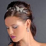 * Rhodium Silver Clear Butterfly Headband Headpiece 1685