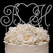 Renaissance ~ Monogram & Heart Crystal Cake Top Set