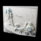Majestic Light Blue Cinderella Castle Guest Book