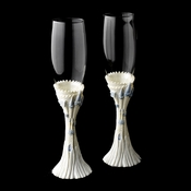 Majestic Light Blue Cinderella Castle Wedding Toasting Champagne Flutes