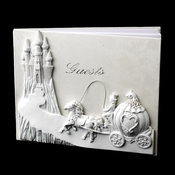 Majestic White Cinderella Castle Guest Book #435