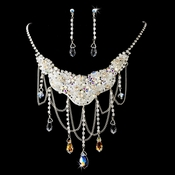 Silver AB Necklace Earring Set 6507