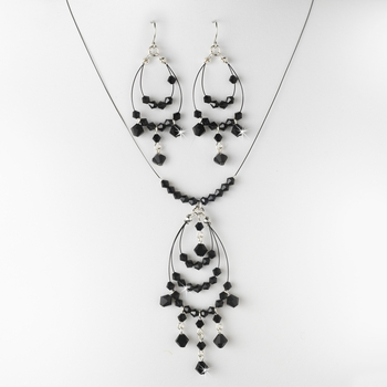 Contemporary Silver Black Crystal Bead Chandelier Necklace & Earring Set 8153