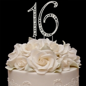 Vintage ~ Sweet 16 Swarovski Crystal Cake Topper ( Small or Large Size )