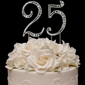 Vintage ~ 25th Anniversary, 25th Birthday Swarovski Crystal Cake Topper