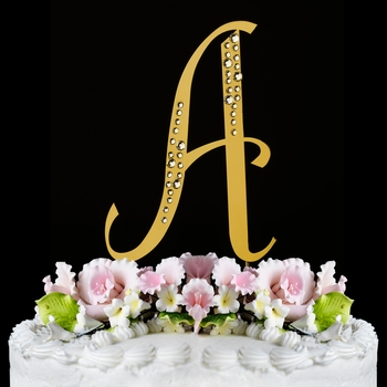 Sparkle ~ Swarovski Crystal Wedding Cake Toppers ~ Gold Letters