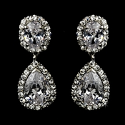 Silver Clear Clip On Bridal Earring Set 8483