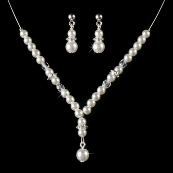 Children's Necklace Earring Set8442 Silver White