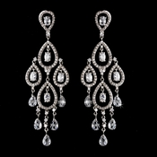 Antique Silver Clear CZ Cystal Chandlier Earring Set 5344