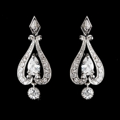 Antique Silver Clear Chandelier Earring Set E 2296